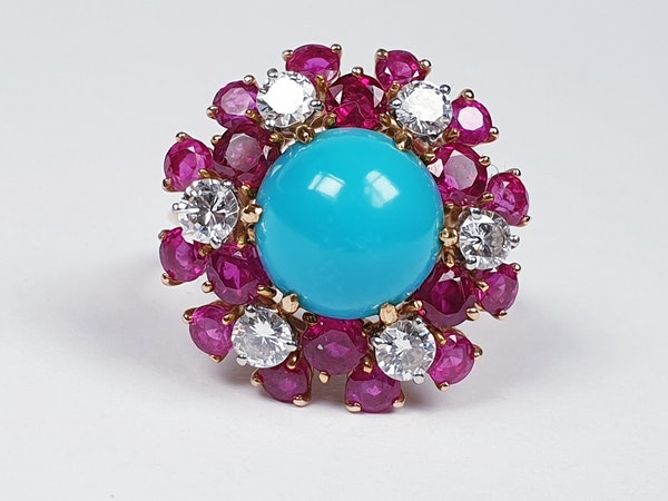 1960's Turquoise ruby and diamond dress ring  DBGEMS - image 1