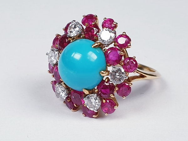 1960's Turquoise ruby and diamond dress ring  DBGEMS - image 2