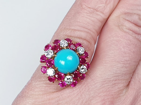 1960's Turquoise ruby and diamond dress ring  DBGEMS - image 3