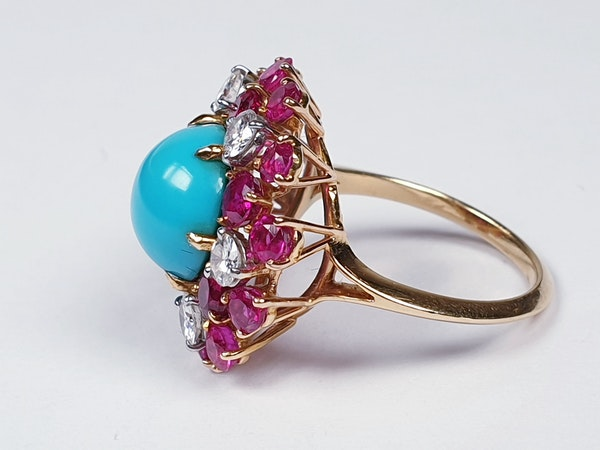 1960's Turquoise ruby and diamond dress ring  DBGEMS - image 6