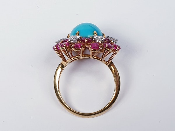 1960's Turquoise ruby and diamond dress ring  DBGEMS - image 4