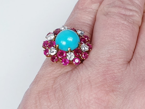 1960's Turquoise ruby and diamond dress ring  DBGEMS - image 5