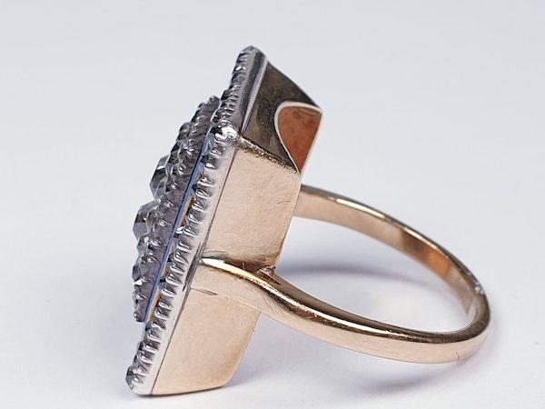 Georgian diamond and baby blue enamel ring  DBGEMS - image 1