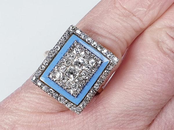 Georgian diamond and baby blue enamel ring  DBGEMS - image 3