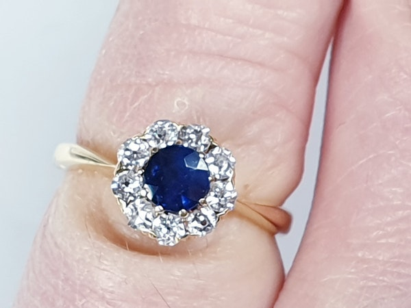 Antique Sapphire and Diamond Cluster Engagement Ring  DBGEMS - image 5