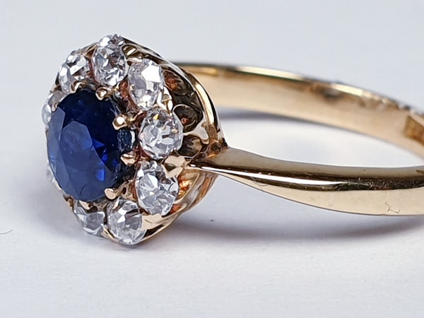 Antique Sapphire and Diamond Cluster Engagement Ring  DBGEMS - image 1