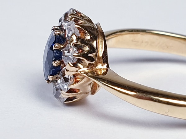 Antique Sapphire and Diamond Cluster Engagement Ring  DBGEMS - image 4