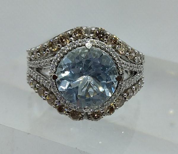 Aquamarine and Diamond Halo Ring - image 1