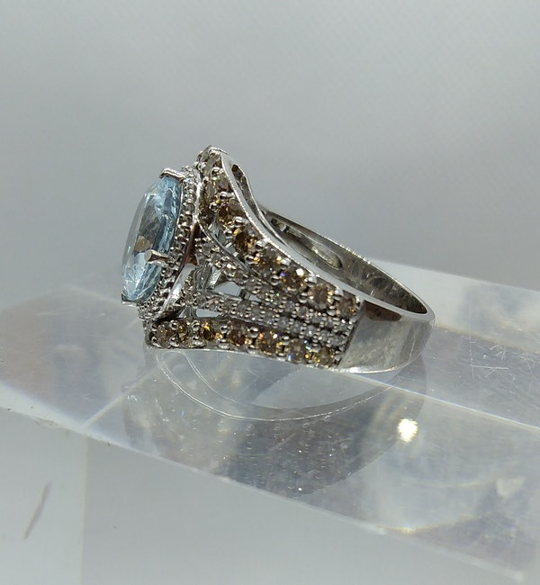 Aquamarine and Diamond Halo Ring - image 2