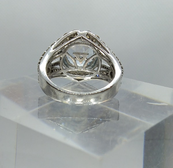 Aquamarine and Diamond Halo Ring - image 3