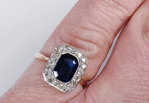 Edwardian sapphire and diamond engagement ring  DBGEMS - image 4