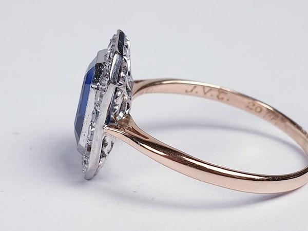 Edwardian sapphire and diamond engagement ring  DBGEMS - image 2