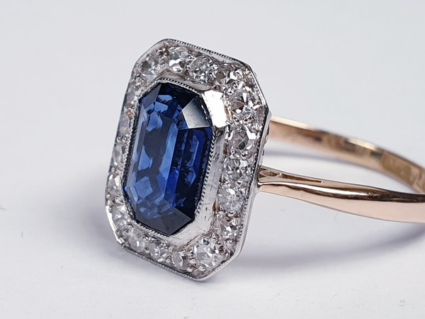 Edwardian sapphire and diamond engagement ring  DBGEMS - image 3