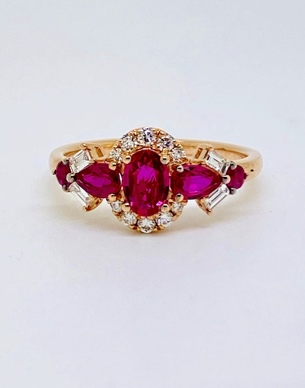14K yellow gold 1.25ct Natural Ruby and 0.60ct Diamond Ring - image 1