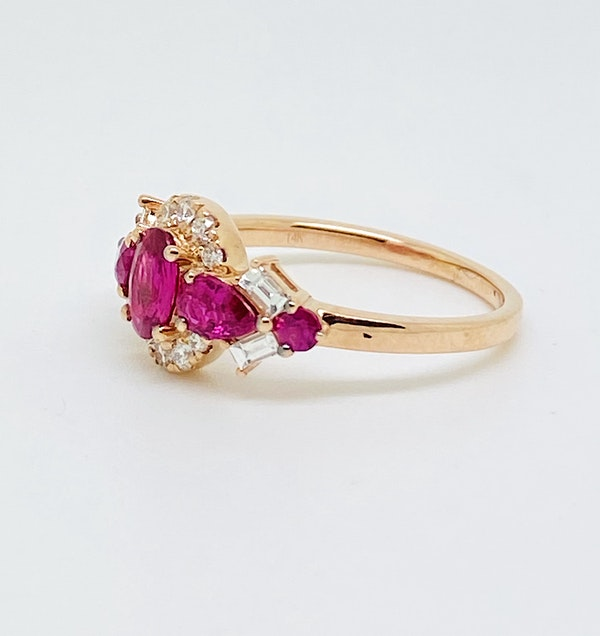 14K yellow gold 1.25ct Natural Ruby and 0.60ct Diamond Ring - image 2