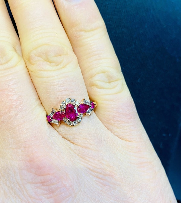 14K yellow gold 1.25ct Natural Ruby and 0.60ct Diamond Ring - image 4