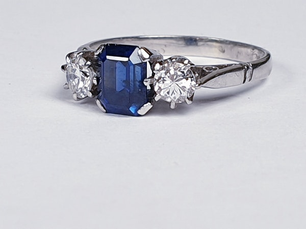 Art Deco Sapphire and Diamond Engagement Ring 3285 DBGEMS - image 1