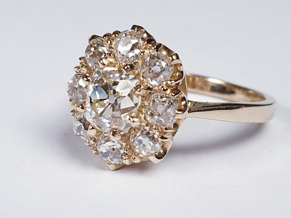Antique old cut diamond cluster engagement ring  DBGEMS - image 2