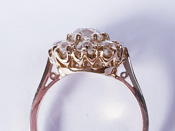 Antique old cut diamond cluster engagement ring  DBGEMS - image 3