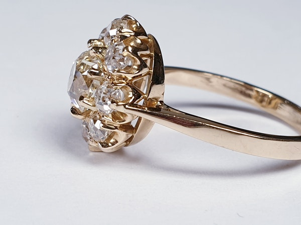 Antique old cut diamond cluster engagement ring  DBGEMS - image 1