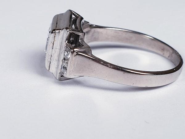 French art deco diamond engagement ring  DBGEMS - image 2