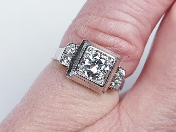 French art deco diamond engagement ring  DBGEMS - image 3