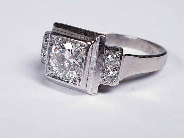 French art deco diamond engagement ring  DBGEMS - image 5
