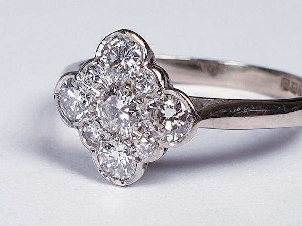 Art Deco Quatrafoil Diamond Engagement Ring  DBGEMS - image 1
