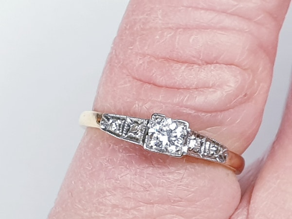 Antique Solitaire Diamond Ring  DBGEMS - image 2
