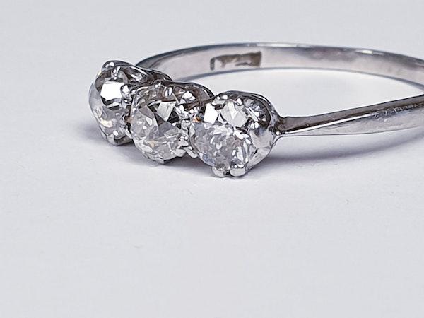 Three stone diamond ring set in platinum  DBGEMS - image 2