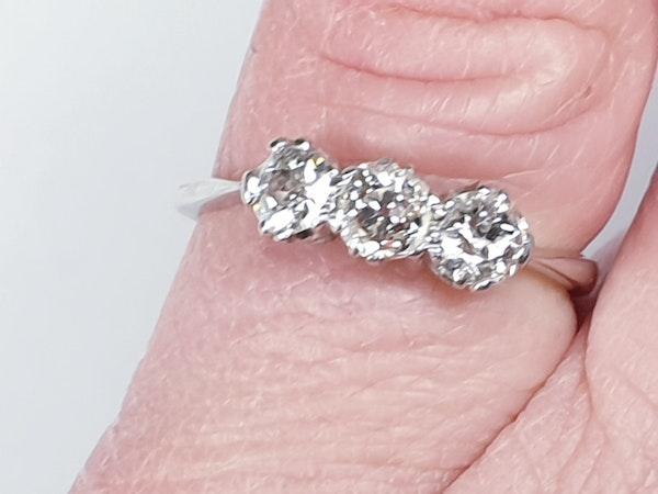 Three stone diamond ring set in platinum  DBGEMS - image 3