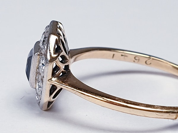 Antique sapphire and diamond engagement ring  DBGEMS - image 3