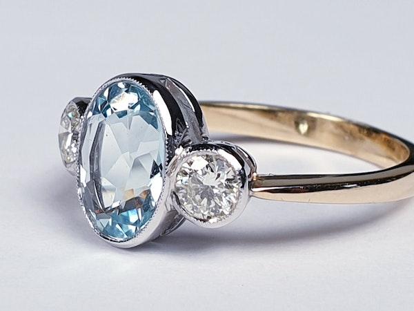 Aquamarine and diamond three stone ring  DBGEMS - image 3