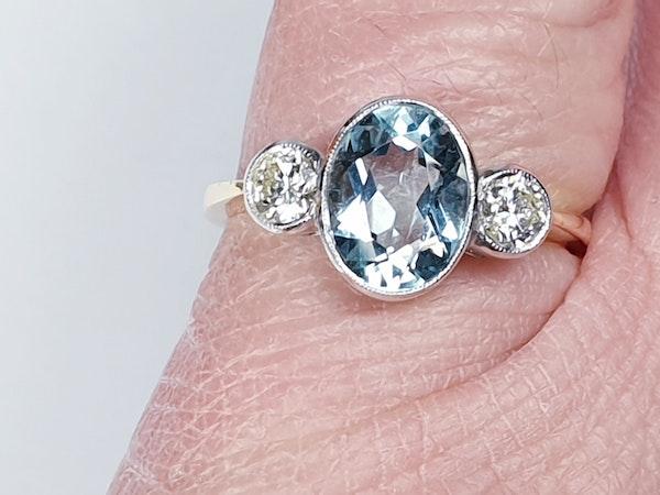 Aquamarine and diamond three stone ring  DBGEMS - image 2