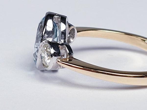 Aquamarine and diamond three stone ring  DBGEMS - image 1