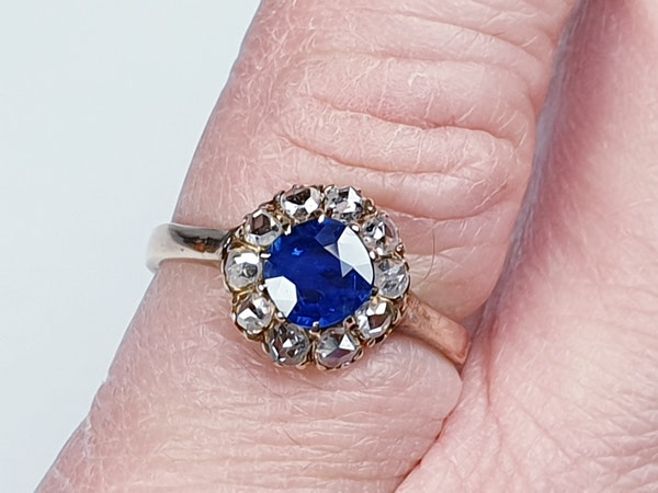 Victorian Sapphire and Rose Diamond Engagement Ring  DBGEMS - image 2