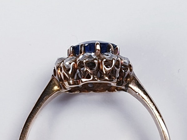 Victorian Sapphire and Rose Diamond Engagement Ring  DBGEMS - image 3