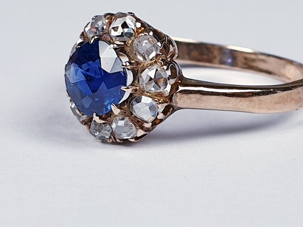 Victorian Sapphire and Rose Diamond Engagement Ring  DBGEMS - image 1