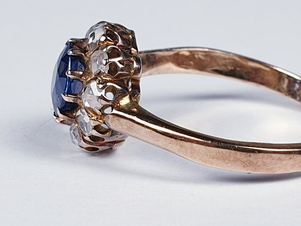 Victorian Sapphire and Rose Diamond Engagement Ring  DBGEMS - image 4