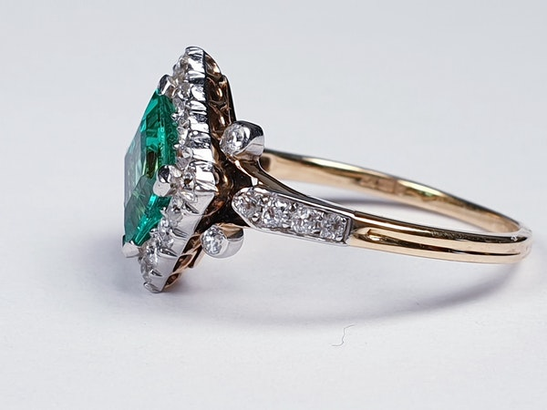 Terrific Edwardian Emerald and Diamond Ring  DBGEMS - image 1