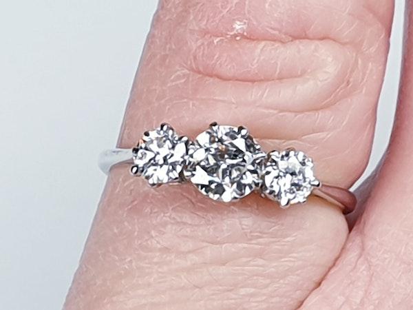 Art deco three stone diamond engagement ring 4730   DBGEMS - image 1