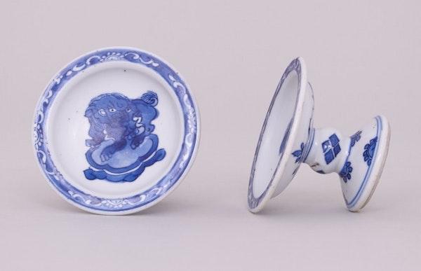 A NEAR PAIR OF CHINESE BLUE & WHITE SALTS, KANGXI (1662-1722) - image 1