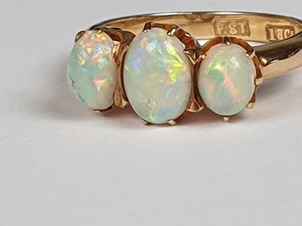 Antique opal three stone ring  DBGEMS - image 2