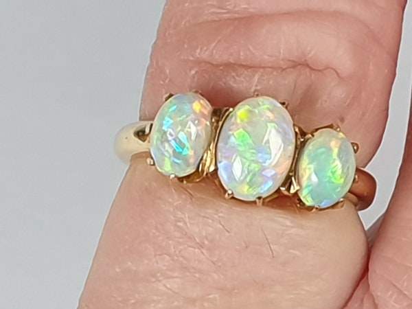 Antique opal three stone ring  DBGEMS - image 1