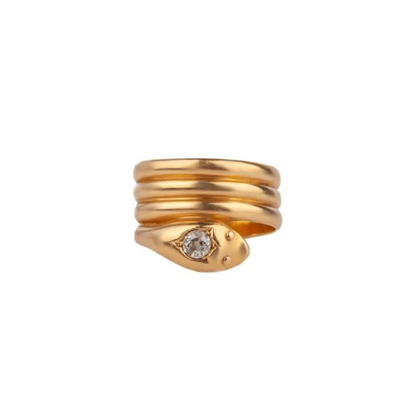 Diamond set snake ring - image 1