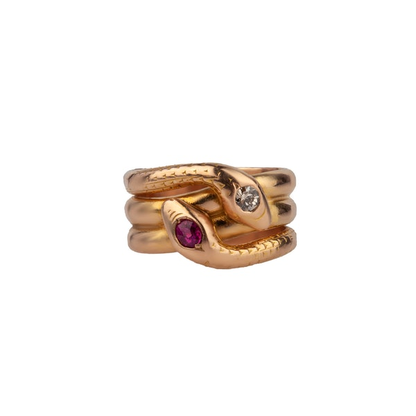 Ruby diamond snake ring - image 1