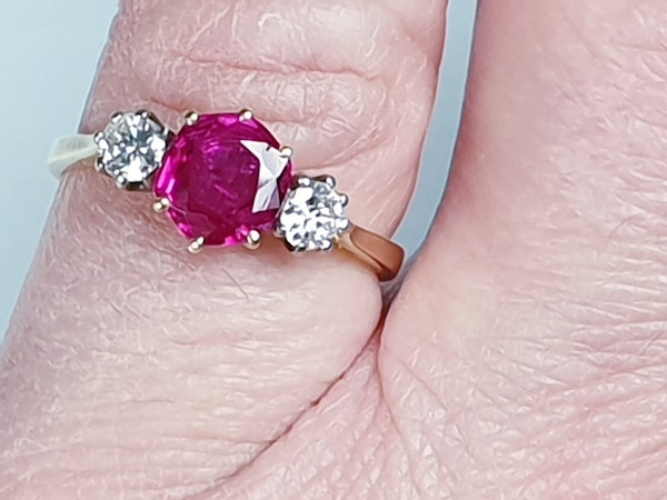 Ruby and diamond engagement ring  DBGEMS - image 2