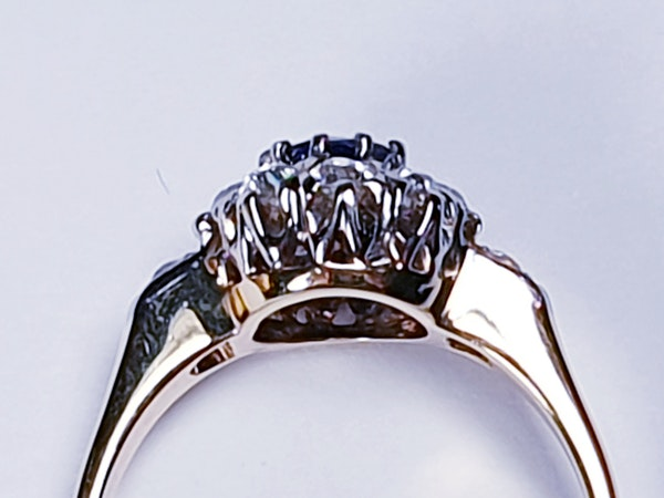 Antique Sapphire and Diamond Cluster Ring 2524   DBGEMS - image 3