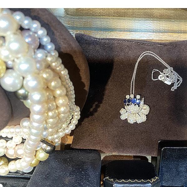 1950's, Platinum, Sapphire and Diamond stone set Pendant/Brooch, SHAPIRO & Co since1979 - image 5