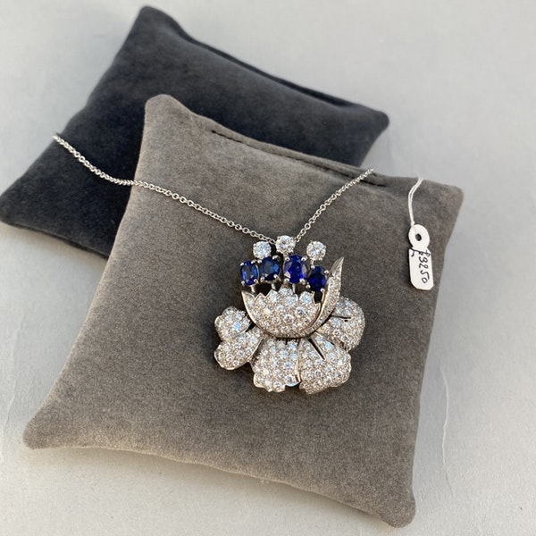 1950's, Platinum, Sapphire and Diamond stone set Pendant/Brooch, SHAPIRO & Co since1979 - image 8